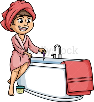 Woman using bath salts. PNG - JPG and vector EPS (infinitely scalable).