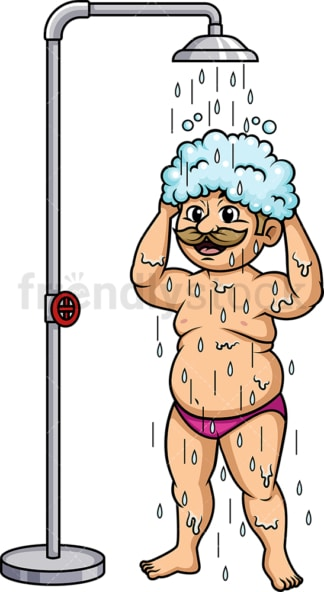 Fat guy taking a shower. PNG - JPG and vector EPS (infinitely scalable).