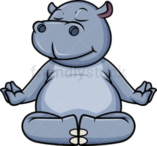 Hippo meditating. PNG - JPG and vector EPS (infinitely scalable).