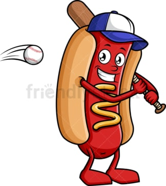 Hot dog holding baseball bat. PNG - JPG and vector EPS (infinitely scalable).