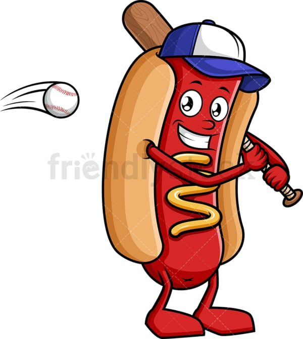 Hot dog holding baseball bat. PNG - JPG and vector EPS (infinitely scalable).