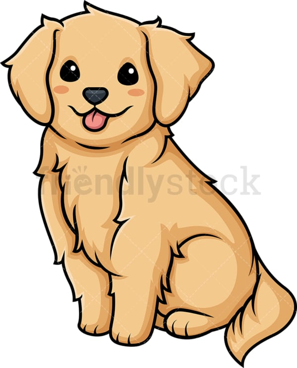 Kawaii golden retriever. PNG - JPG and vector EPS (infinitely scalable).