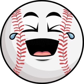 Laughing lol baseball emoticon. PNG - JPG and vector EPS file formats (infinitely scalable). Image isolated on transparent background.