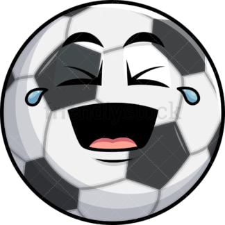 Laughing lol soccer ball emoticon. PNG - JPG and vector EPS file formats (infinitely scalable). Image isolated on transparent background.