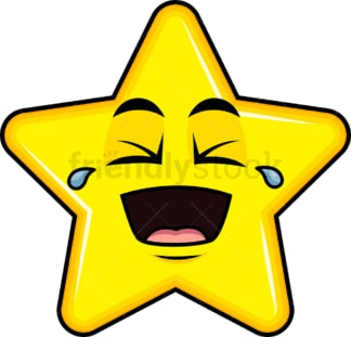 Laughing lol star emoticon. PNG - JPG and vector EPS file formats (infinitely scalable). Image isolated on transparent background.