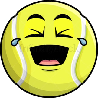 Laughing lol tennis ball emoticon. PNG - JPG and vector EPS file formats (infinitely scalable). Image isolated on transparent background.