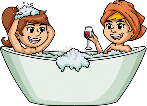 Lesbian couple in bathtub. PNG - JPG and vector EPS (infinitely scalable).