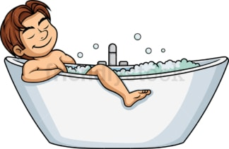 Man falling asleep in the bathtub. PNG - JPG and vector EPS (infinitely scalable).