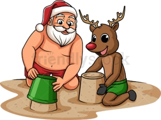 Summer santa claus building sand castle. PNG - JPG and vector EPS (infinitely scalable).