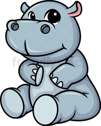 Chibi kawaii hippo. PNG - JPG and vector EPS (infinitely scalable).