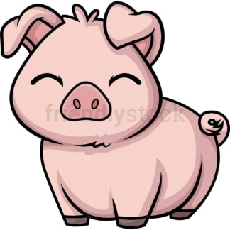 Chibi kawaii pig. PNG - JPG and vector EPS (infinitely scalable).