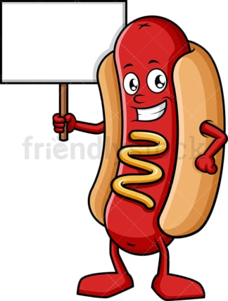 Hot dog holding blank sign. PNG - JPG and vector EPS (infinitely scalable).