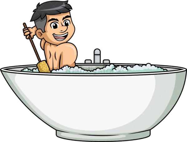 Man scratching his back while bathing. PNG - JPG and vector EPS (infinitely scalable).