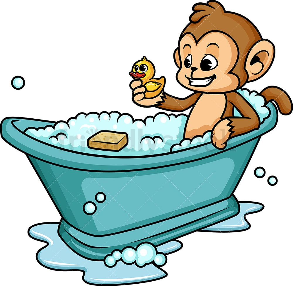 Monkey Having A Bath Cartoon Clipart Vector