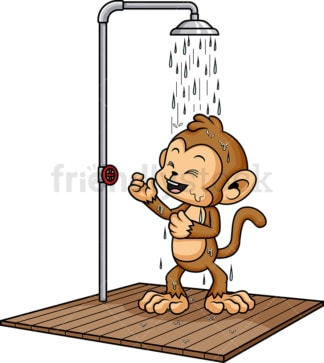 Monkey showering. PNG - JPG and vector EPS (infinitely scalable).