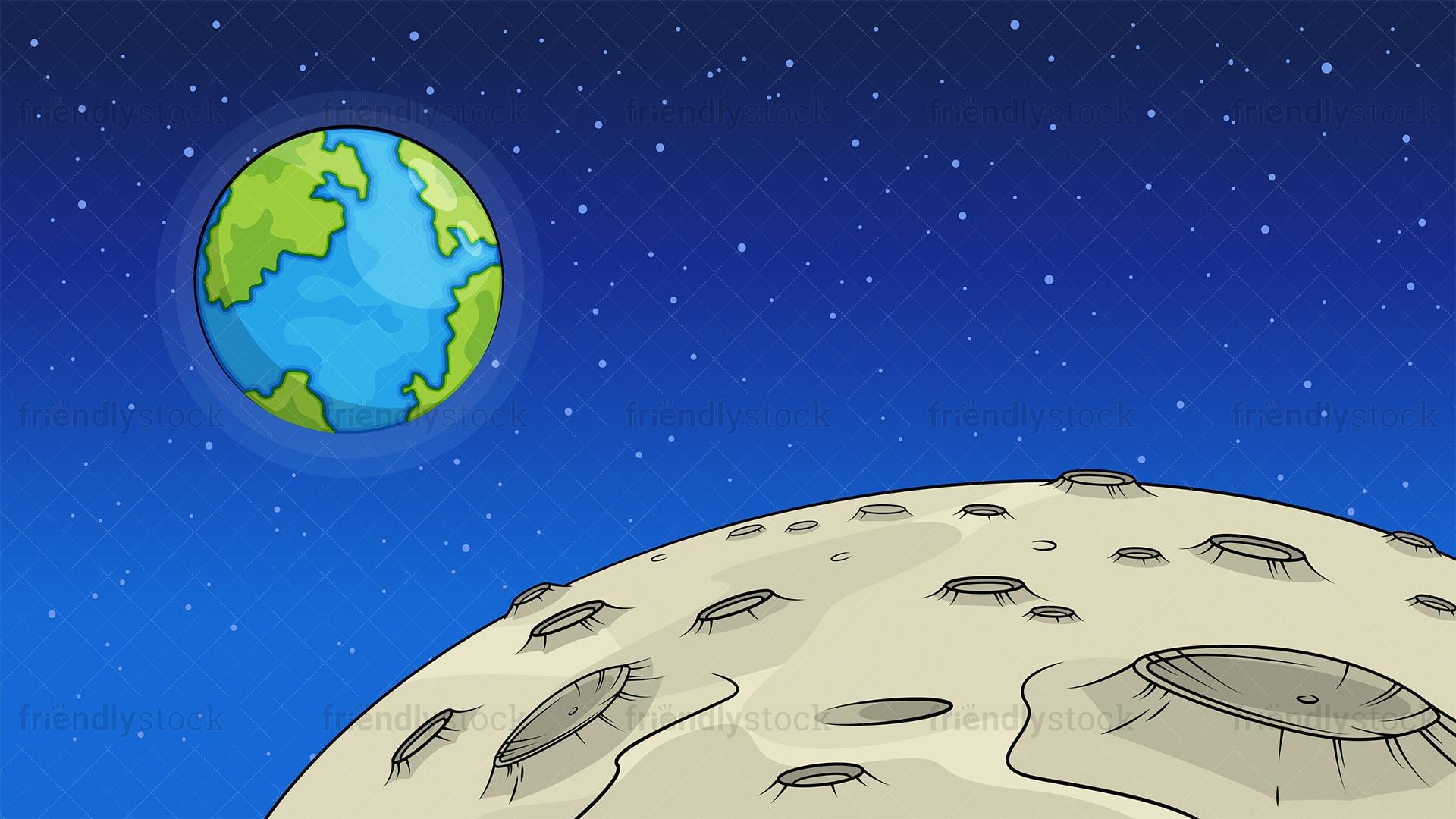Moon Surface Background Cartoon Clipart Vector - FriendlyStock (1920 x 1080 Pixel)