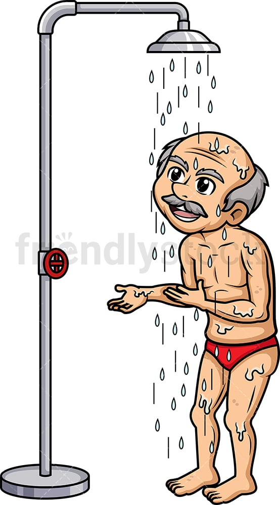 Old man taking a shower. PNG - JPG and vector EPS (infinitely scalable).
