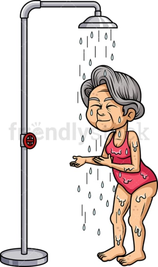 Old woman taking a shower. PNG - JPG and vector EPS (infinitely scalable).
