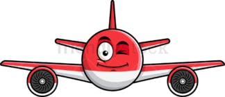 Winking airplane emoticon. PNG - JPG and vector EPS file formats (infinitely scalable). Image isolated on transparent background.