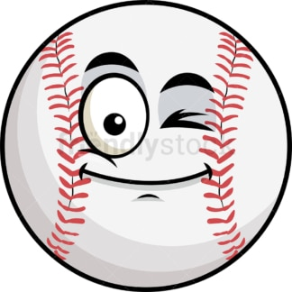 Winking baseball emoticon. PNG - JPG and vector EPS file formats (infinitely scalable). Image isolated on transparent background.