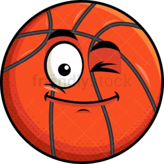 Winking basketball emoticon. PNG - JPG and vector EPS file formats (infinitely scalable). Image isolated on transparent background.