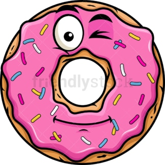 Winking donut emoticon. PNG - JPG and vector EPS file formats (infinitely scalable). Image isolated on transparent background.