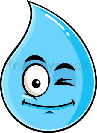 Winking raindrop emoticon. PNG - JPG and vector EPS file formats (infinitely scalable). Image isolated on transparent background.