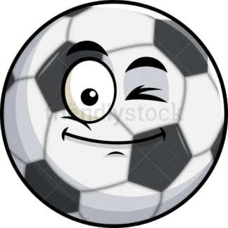 Winking soccer ball emoticon. PNG - JPG and vector EPS file formats (infinitely scalable). Image isolated on transparent background.