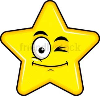 Winking star emoticon. PNG - JPG and vector EPS file formats (infinitely scalable). Image isolated on transparent background.