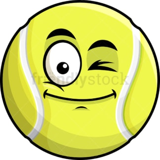 Winking tennis ball emoticon. PNG - JPG and vector EPS file formats (infinitely scalable). Image isolated on transparent background.