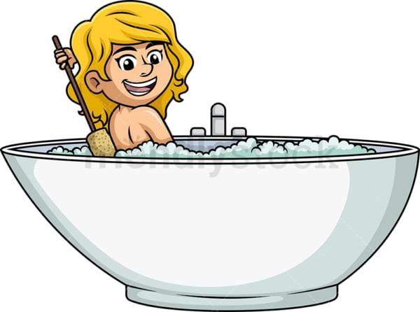 Woman using bath brush to rub her back. PNG - JPG and vector EPS (infinitely scalable).