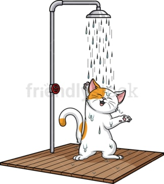 Cat showering. PNG - JPG and vector EPS (infinitely scalable).