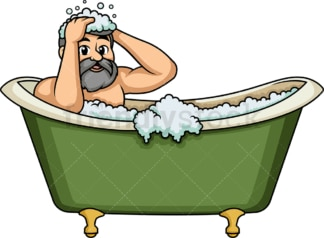Caucasian man washing his hair. PNG - JPG and vector EPS (infinitely scalable).