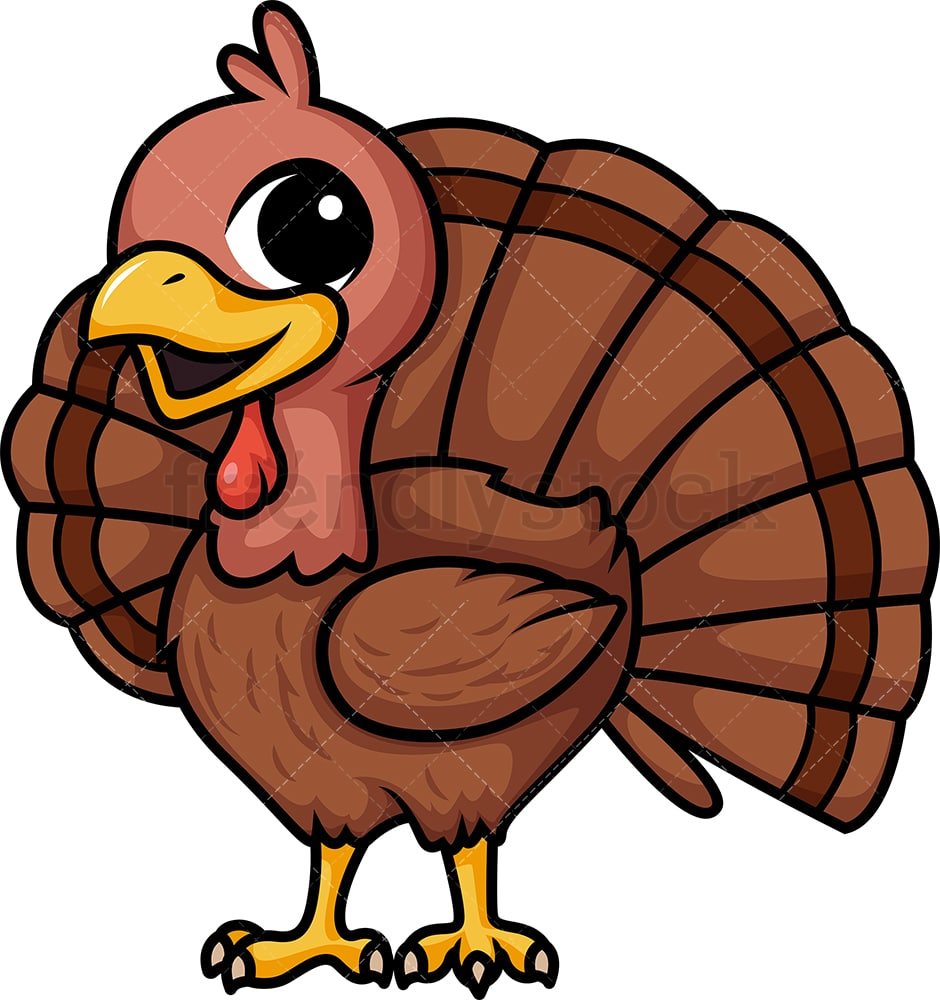 Chibi Kawaii Turkey Clipart Cartoon Vector - FriendlyStock