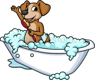 Dog having a bath. PNG - JPG and vector EPS (infinitely scalable). Image isolated on transparent background.
