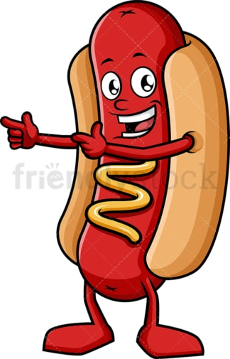 Happy hot dog pointing. PNG - JPG and vector EPS (infinitely scalable).