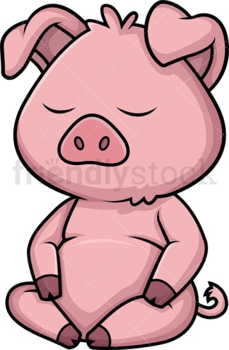 Pig meditating. PNG - JPG and vector EPS (infinitely scalable).
