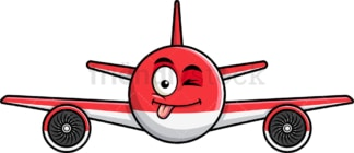 Winking tongue out airplane emoticon. PNG - JPG and vector EPS file formats (infinitely scalable). Image isolated on transparent background.