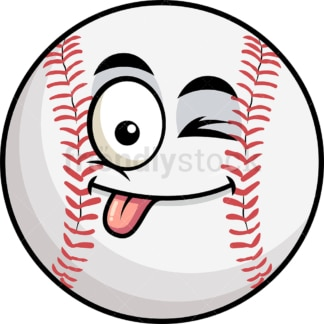 Winking tongue out baseball emoticon. PNG - JPG and vector EPS file formats (infinitely scalable). Image isolated on transparent background.