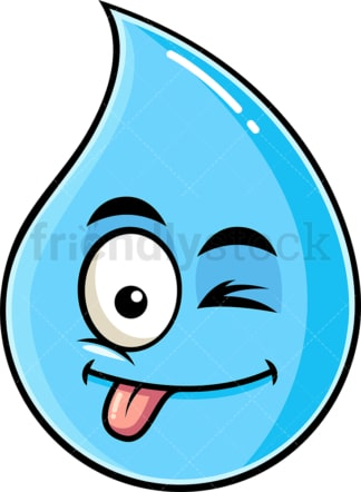 Winking tongue out raindrop emoticon. PNG - JPG and vector EPS file formats (infinitely scalable). Image isolated on transparent background.
