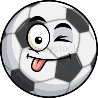 Winking tongue out soccer ball emoticon. PNG - JPG and vector EPS file formats (infinitely scalable). Image isolated on transparent background.