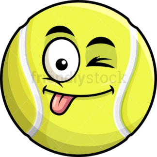 Winking tongue out tennis ball emoticon. PNG - JPG and vector EPS file formats (infinitely scalable). Image isolated on transparent background.