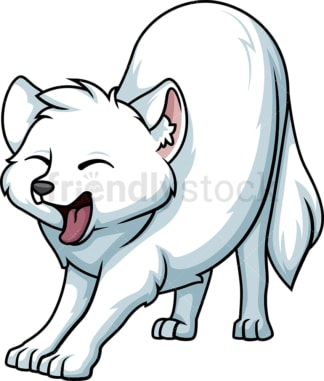 Yawning snow fox. PNG - JPG and vector EPS (infinitely scalable).