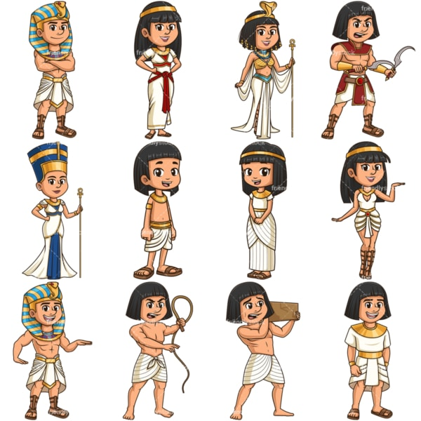 Ancient egyptians. PNG - JPG and vector EPS file formats (infinitely scalable). Images isolated on transparent background.