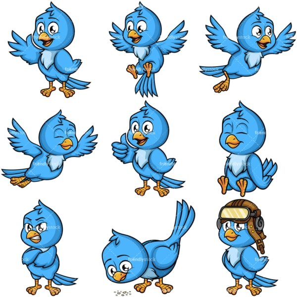 Blue bird. PNG - JPG and vector EPS file formats (infinitely scalable). Image isolated on transparent background.