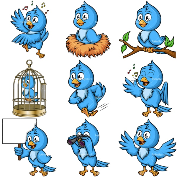 Blue bird vector. PNG - JPG and vector EPS file formats (infinitely scalable). Image isolated on transparent background.