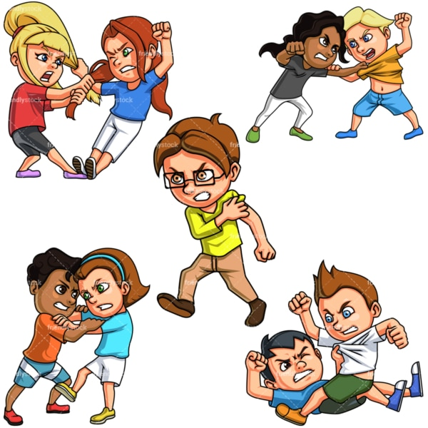 Kids fighting. PNG - JPG and vector EPS file formats (infinitely scalable).