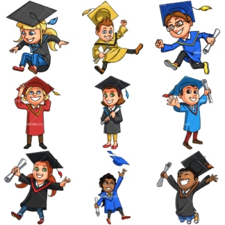 Kids Graduating. PNG - JPG and vector EPS file formats (infinitely scalable). Image isolated on transparent background.