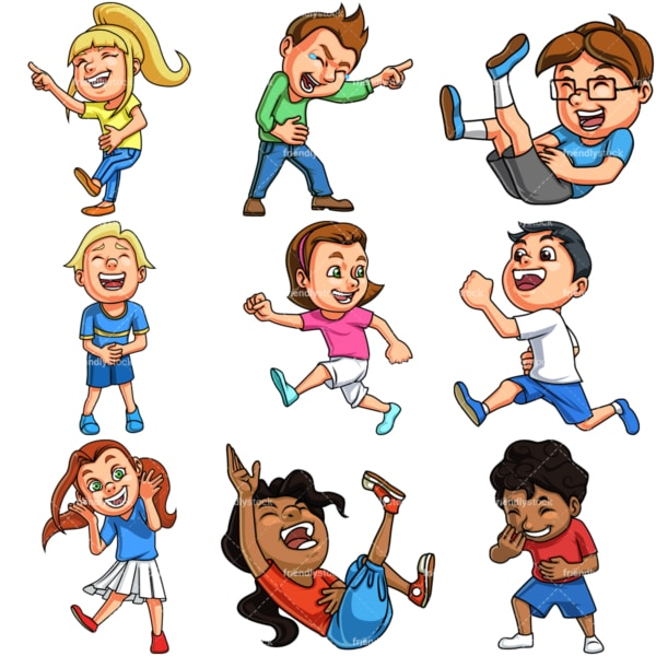 Kids laughing. PNG - JPG and vector EPS file formats (infinitely scalable). Image isolated on transparent background.