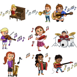 Kids playing musical instruments. PNG - JPG and vector EPS file formats (infinitely scalable). Image isolated on transparent background.